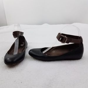 Marni Flats 37 7 Ankle Strap Black  Brown Leather